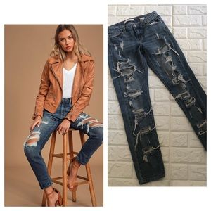 Eunina mid rise relaxed skinny distressed crop